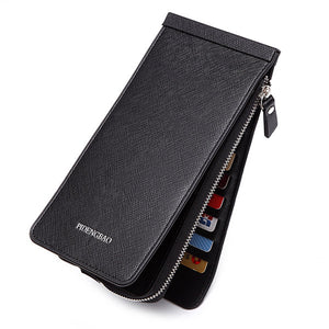 Business 26 Card Slots 6.6 Inches Phone Bag Multi-slots Card Holder Long Trifold Wallet