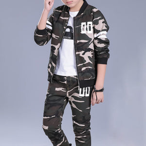 Boys Camouflage Clothes Sets kids Zipper Coat + Long Pants For 6Y-15Y