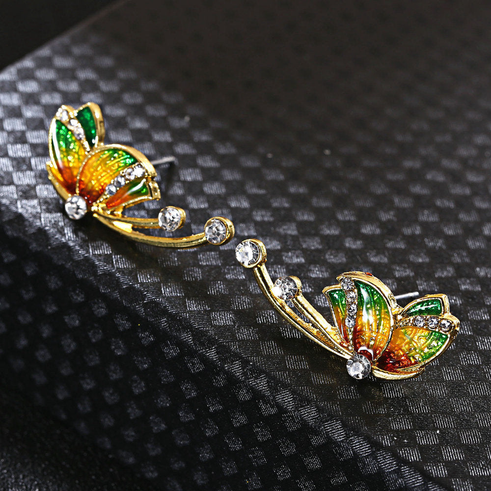 Luxury Butterfly Gold Earrings Sweet Ceramic Rhinestones Crystal Earrings Elegant Gift for Women