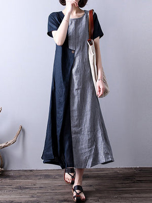 Stripe Patchwork Asymmetrical Short Sleeve Vintage Dresses