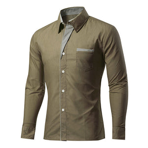 Casual Business Stripe Decoration Long Sleeve Solid Color Slim Fit Shirt for Men