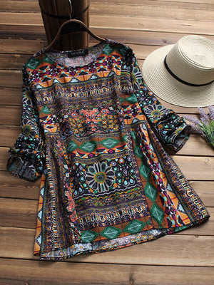 Ethnic Geometric Print Long Sleeve Loose O-neck T-shirts For Women