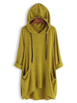 Casual Solid Color Side Pockets Asymmetrical Hooded Sweatshirt