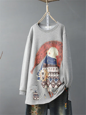 Cartoon Print Loose Mid Length Sweatshirt