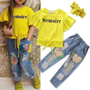 3Pcs Girls Kids Clothes Set T-Shirt + Embroidery Ripped Jeans Pants + Headband For 1Y-9Y