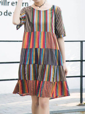 Stripe Multi-color Short Sleeve O-neck Casual Dresses