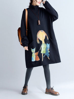 Cartoon Print Pocket High Neck  Sweatshirt Dress
