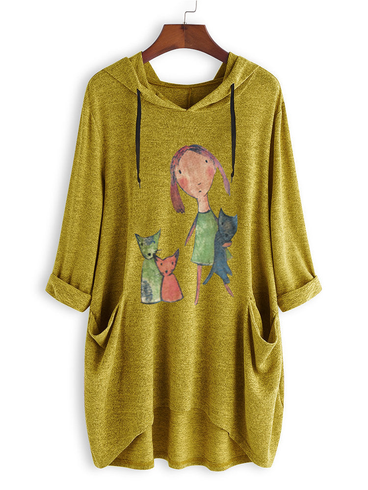 Cartoon Print Side Pockets Hooded Sweatshirt