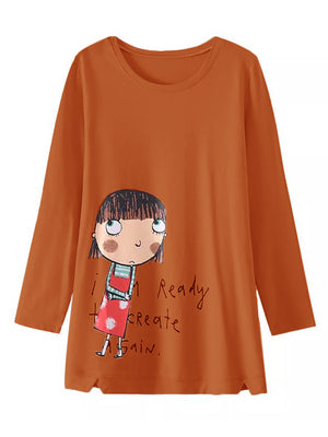 Cartoon Letter Print Splited Long Sleeve Casual Sweatshirt