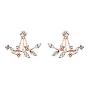 Sterling Silver Rose Gold Leaves Zircon Sweet Flower Crystal Stud Earrings Ear Jackets