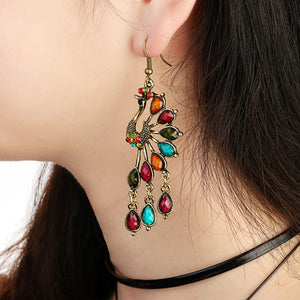 Vintage Alloy Peacock Long Dangle Earrings Crystal Ethnic Tassel Earrings for Women
