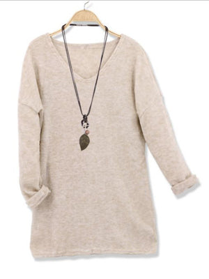 Casual Solid Color Long Sleeve V Neck Sweatshirt