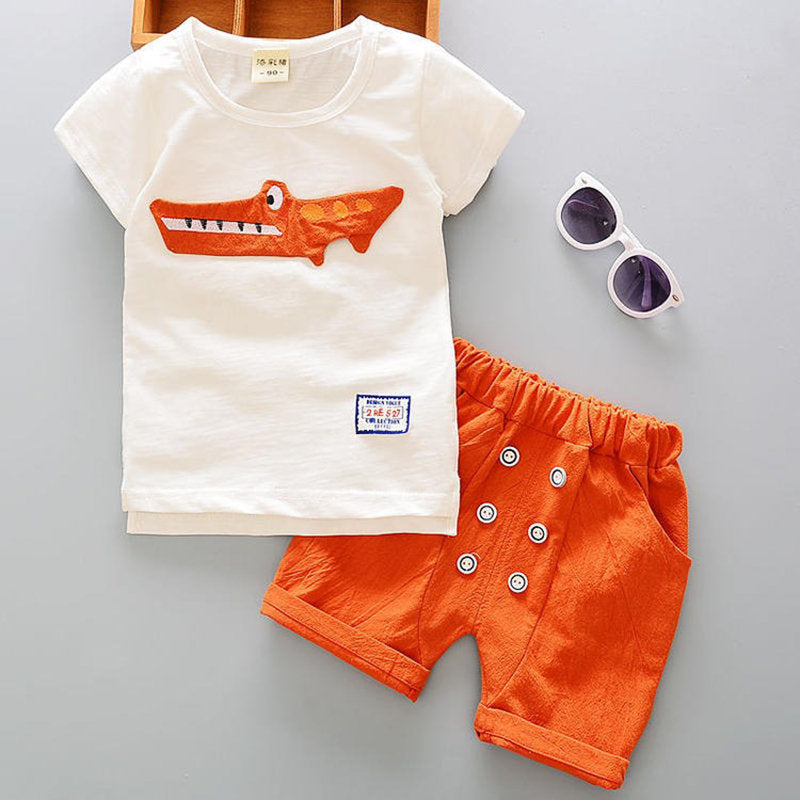 Leisure Summer Toddler Boys Clothing Sets Cartoon T Shirts+ Shorts For 2Y-7Y