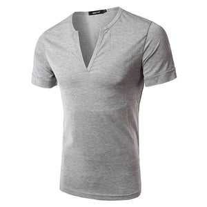 Casual Slim Fit Simple Style Cotton Solid Color Short Sleeve V-Neck T Shirt For Men