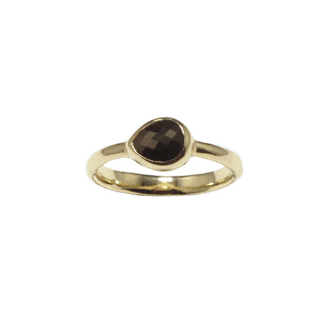 Black rosecut diamond ring 10K gold