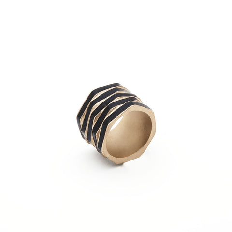 Enamel Stacked Hexagon Ring