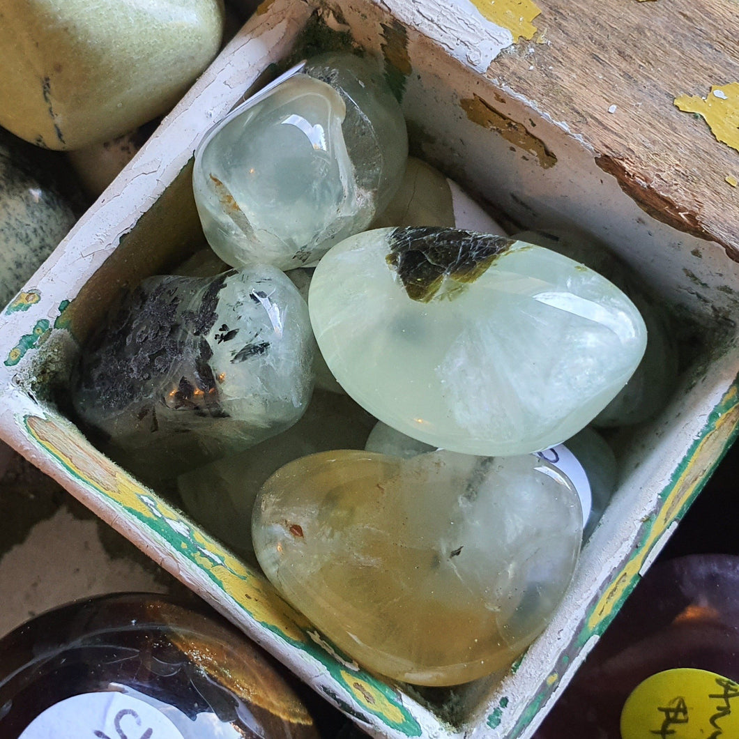 Crystals - Prehnite (with Black Rutile) Tumbled Stone