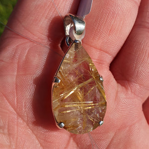 Crystals - Golden Rutilated Quartz Faceted Teardrop Pendant - Sterling Silver