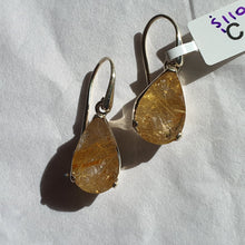 Load image into Gallery viewer, Crystals - Golden Rutilated Quartz Drop/Hook Earrings - Sterling Silver