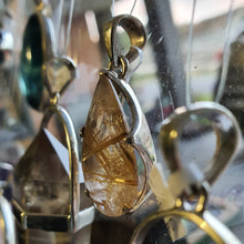 Load image into Gallery viewer, Crystals - Golden Rutilated Quartz Faceted Teardrop Pendant - Sterling Silver