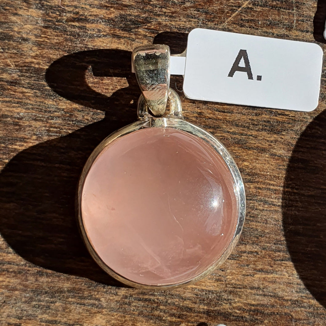 Crystals - Rose Quartz Caberchon Round Pendant - Stirling Silver