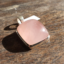 Load image into Gallery viewer, Crystals - Rose Quartz Caberchon Square Pendant - Stirling Silver