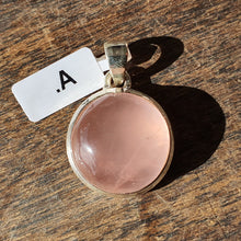 Load image into Gallery viewer, Crystals - Rose Quartz Caberchon Round Pendant - Stirling Silver