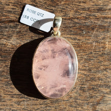 Load image into Gallery viewer, Crystals - Rose Quartz Caberchon Oval Pendant - Stirling Silver