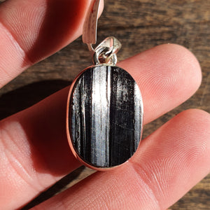 Crystals - Black Tourmaline Natural (Rough) Oval Pendant - Sterling Silver