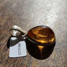 Load image into Gallery viewer, Crystals - Citrine Caberchon Teardrop Pendant - Stirling Silver