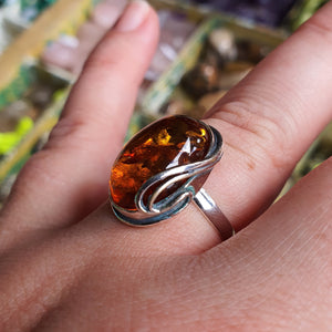 Crystals - Amber Ring -Sterling Silver