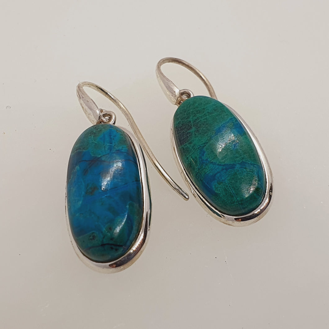 Crystals - Chrysocholla Drop/Hook Earrings - Stirling Silver