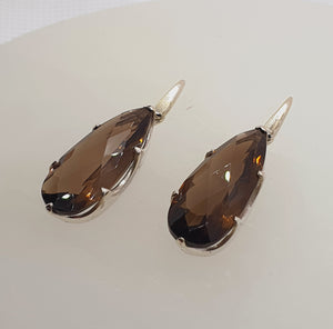 Crystals - Smoky Quartz Drop/Hook Earrings - Sterling Silver