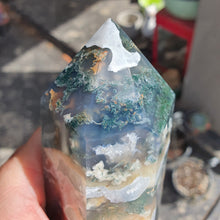 Load image into Gallery viewer, Crystals - Moss Agate Point/Tower