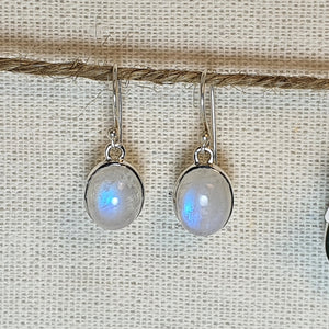 Crystals - Moonstone Drop/Hook Earrings - Sterling Silver