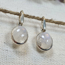 Load image into Gallery viewer, Crystals - Moonstone Drop/Hook Earrings - Sterling Silver