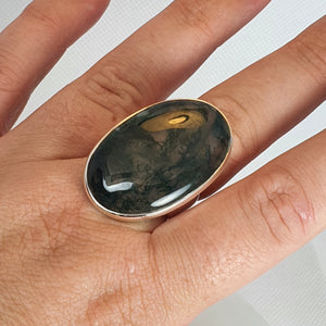 Crystals - Moss Agate Ring - Sterling Silver