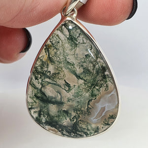 Crystals - Moss Agate Pendant - Sterling Silver