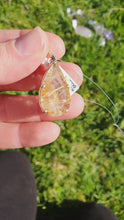 Load and play video in Gallery viewer, Crystals - Golden Rutilated Quartz Faceted Teardrop Pendant - Sterling Silver