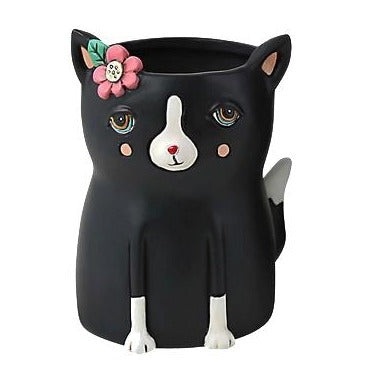 Allen Designs - BABY Kitty Planter ~ BLACK & WHITE