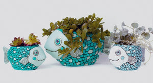 Allen Designs - Fish Planter - Teal