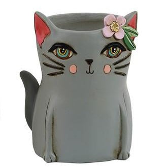Allen Designs - Baby Kitty Planter ~ GREY