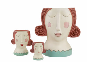 Allen Designs - Lady With RED Hair Planter ~ HUGE