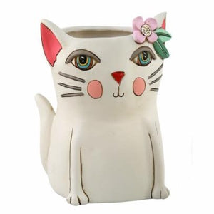 Allen Designs - Kitty MEDIUM Planter ~ WHITE