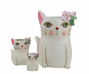 Allen Designs - BABY Kitty Planter ~ WHITE