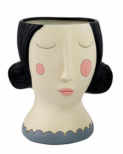 Allen Designs - Lady With Black Hair Planter ~ HUGE