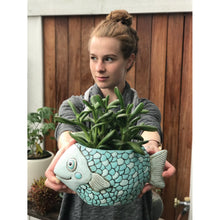 Load image into Gallery viewer, Allen Designs - Fish Planter - Teal