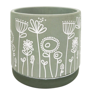 Field of Flowers Planter Green Small