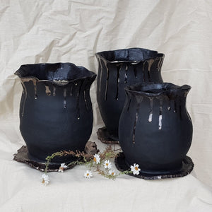 Plant Pot/Planter: Him Pot - Black, gold, masculine, volcano