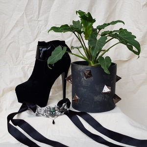 Plant Pot/Planter: Studded Pot - Black, gold, gothic, studs, spikes, punk